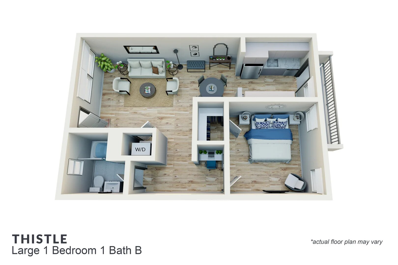 Thistle large 1 bedroom 1 bath B