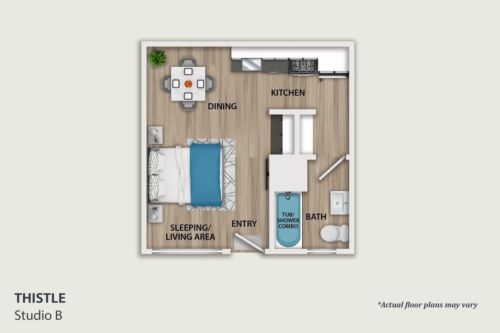 studio apartment layout in Pasadena ca