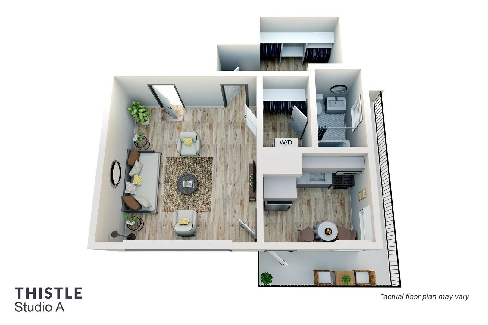 studio apartment layout with balcony in Pasadena ca